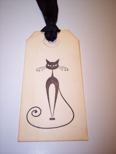 Black Cat Gift Tags set of 6 by mreguera on Etsy, $4.00