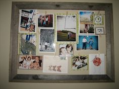 Old picture frame without the glass? Hot glue string from side to side, and hang pictures on the string with tiny clothes pins!