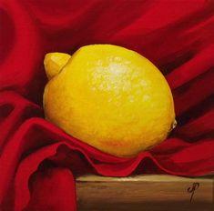 """Lemon on Red"" - Original Fine Art for Sale - © Jane Palmer"