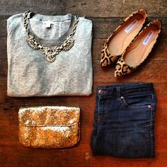 Gray sweater. Statement necklace + jeans + sweater + leopard flats. #outfitinspiration #pipercase