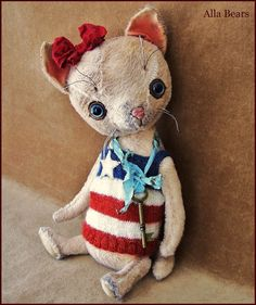 Welcome to my artist toy shop,    America I would like for you to meet this sweet larger cat , she is Vintage inspired , made to look like an old loved toy . Hand made with a lot of attention to details by my original custom patterns she is truly on of a kind . This cat is about 11  inch tall (28 cm) standing up , fully jointed , you can pose her any way you would like. She is completely hand sewn with hand embroidered nose , mouth and whiskers. She has some weight inside so kitten will feel…