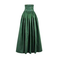 Partiss Womens Green Vintage High Waist Long Victorian Gothic... ($76) ❤ liked on Polyvore featuring skirts, high-waisted maxi skirts, long maxi skirts, vintage skirts, high-waist skirt and long vintage skirts