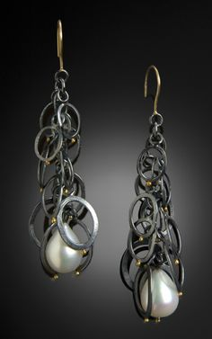 Sydney Lynch: Petal Loop earrings; oxidized sterling, 18k gold & pearls.  2 1/8 inches long.