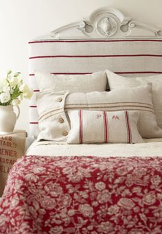'pop of color' =  'cherry red'  ~ love the mix of stripes, ticking & toile