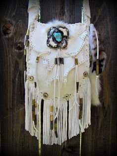 Calamity Mountain Bag Handcrafted by Amy Symonds Old Pawn Turquoise, Bobcat Fur, Antler Buttons and Bullet Jypsi Jingles