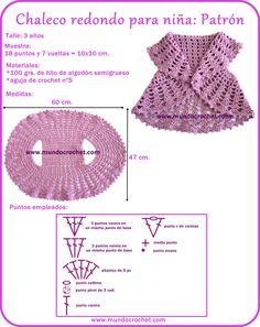 Chaleco redondo a crochet para niña/Chaleco redondo a ganchillo para niña