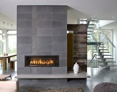 modern living room with cool fireplace