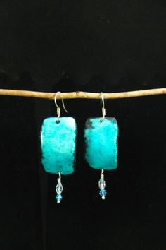 Turquoise enamel earrings on Sterling Silver Ear wires 2325