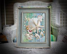 Sea Glass Crafts, Sea Glass Art, Glass Wall Art, Clear Glass, Resin Wall Art, Clear Epoxy Resin, Crushed Glass, Tree Designs, Beach Art