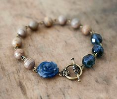 Denim and Dirt Stone Rose Beaded Toggle Bracelet by lillyella