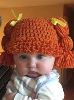 Diy Crafts - -Excited to share this item from my etsy shop: Cabbage Patch Kids hat baby child Baby Hats Knitting, Crochet Baby Hats, Crochet Beanie, Baby Knitting Patterns, Knitted Hats, Crochet Patterns, Booties Crochet, Cabbage Patch Kids, Cabbage Patch Costume