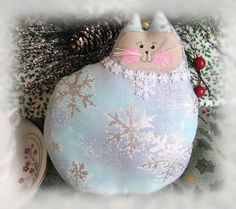 Christmas Cat Doll Cat Pillow Cloth Doll 7  by CharlotteStyle