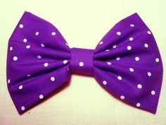 Purple / Small Polka Dots Hair Bow, Girls Hair Bow, Fabric Hair Bow from Tita's Hiding Place