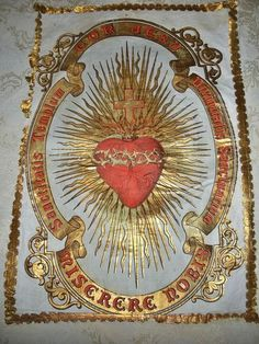 Splendid Small Antique French Church Banner - Sacred Heart