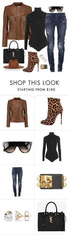 Untitled #1670 by dnicoleg ❤ liked on Polyvore featuring MICHAEL Michael Kors, Christian Louboutin, CÉLINE, Wolford, Balmain, Yves Saint Laurent and Janessa Leone