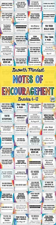 72 unique Growth Mindset Notes encourage middle school and high school students to believe they can learn anything and help them develop the attitudes, habits, and work ethics that will help them persevere through challenges and succeed in all subjects and classes! Ready to print, cut, and go – implement growth mindset today with these notes!