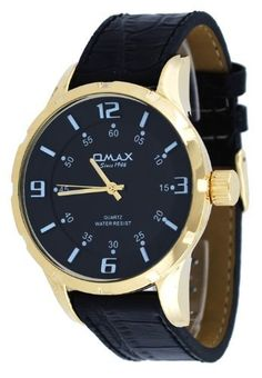 Omax #H006 Men's Gold Tone Black Dial European Style 3-D Index Watch OMAX. $22.97. Mineral Crystal, Luminous Hands with White Tone Markers. Precise Japan Quartz Movement. Water Resistant - 30M. Case Size:  48mm Diameter, 15mm Thickness. Stainless Steel Case Back, Leather Strap. Save 43%!