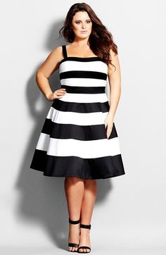 City Chic 'Mono Stripe' Fit & Flare Dress (Plus Size)