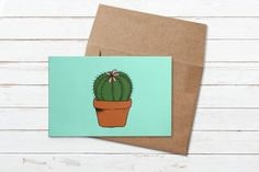 Cute cacti colorful greeting card | Etsy Cacti, Digital Illustration, Stationery, Greeting Cards, Lily, Colorful, Illustrations, Paper, Envelope