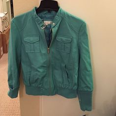 Kenneth Cole Teal faux leather Jacket Real faux leather bomber jacket. Brand new. Kenneth Cole Jackets & Coats