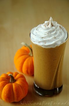 1 cup unsweetened pumpkin puree (to make your own, click here)  1 frozen banana  1/2-1 cup unsweetened almond or coconut milk  1 scoop unflavored (or vanilla) protein powder* - optional  2-3 TBSP agave or maple syrup, to taste  1/2 tsp. vanilla extract  1/2 tsp. cinnamon  1/4 tsp. nutmeg  1/8 tsp. ginger  Small pinch of cloves  Small pinch of salt  Ice - optional