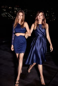 Photographed by Asa Tallgard, Josephine Skriver and Caroline Brasch Nielsen shine in Vero Moda's blue dresses