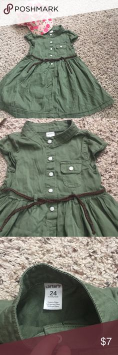 Toddler dress! Adorable carters army green dress with brown belt!!! Matching hat can be found in my closet as well! Carter's Dresses Casual