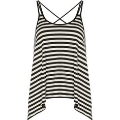 Dorothy Perkins Black/white Stripe Cami Top ($15) ❤ liked on Polyvore featuring tops, shirts, tank tops, tanks, black, strappy tank top, striped tank, striped shirt, striped tank top and black white striped shirt