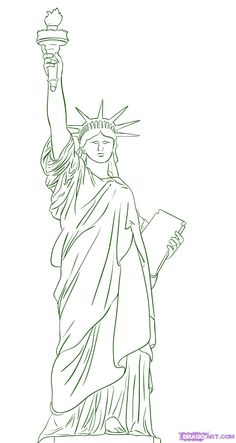 statue of liberty-draw-decorating-com - statue of liberty-draw-decorating-com - Statue Of Liberty Drawing, Summer Drawings, Architecture Drawing Sketchbooks, Skyline Painting, Art Drawings, Tattoo Drawings, Pop Up Art, Drawing Lessons, Painting & Drawing