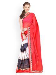 Red & Black Georgette Fashion Saree Price: INR 3199.15995 | India