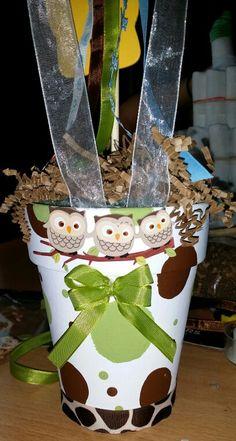 Baby shower owl w giraffe terracotta pot table decor