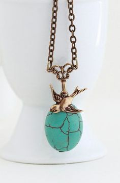 Turquoise Pendant With Brass Bird Charm