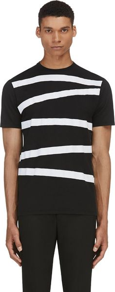 Neil Barrett - Black Angled Stripe T-Shirt