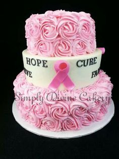 Breast cancer tiered fundraiser cake. Buttercream rose fondant decorations