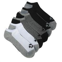e88d5f44d81a Converse Men s 6 Pack Star Chevron Low Cut Socks Shoes (Black Grey White