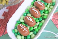 Use Peanut Butter Cup Eggs to make Footballs for your Super Bowl party.
