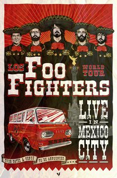 Foo Fighters Gig Poster on Behance Gig Poster, Tour Posters, Band Posters, Retro Posters, Foo Fighters Poster, Rock And Roll, We Will Rock You, Music Artwork, Festival Posters