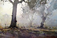 Joseph Zbukvic watercolor trees in the mist.
