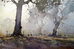 Joseph Zbukvic watercolor trees in the mist.