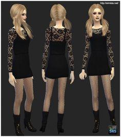 Little Black Cocktail Dress at Simista via Sims 4 Updates Sims 4 Cc Skin, Sims Cc, Modest Dresses, Nice Dresses, Little Black Cocktail Dress, Dress Black, Sims 4 Clothing, Female Clothing, Sims 4 Update