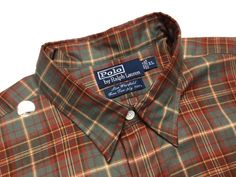 RALPH LAUREN Men's XL Brown Green Red Plaid Twill Long Sleeve Chest Pockets Casual Shirt | Men's Fashion & Style | Shop Menswear, Men's Clothes, Men's Apparel at designerclothingfans.com