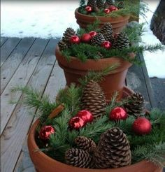 Cute Holiday/Christmas pin cones with ornaments. :)