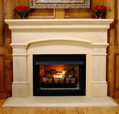 """The Valinda lightweight cast stone fireplace mantel has an arched design. Fits fireplaces from 32"""" to 43"""" wide with the look and feel of a carved stone mantel."""