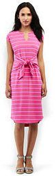Lands' End Women's Petite Cap Sleeve Knit Tie Waist Dress-Pink Phlox Stripe