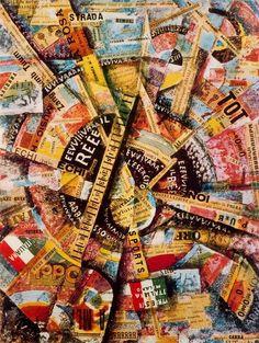 1914, Carlo Carrà (Italy, 1881-1966): 'Manifestazione Interventista'. Tempera e collage su cartoncino, 38,5x30 cm. Milano, Collezione Mattioli, in deposito presso la Collezione Guggenheim a Venezia.