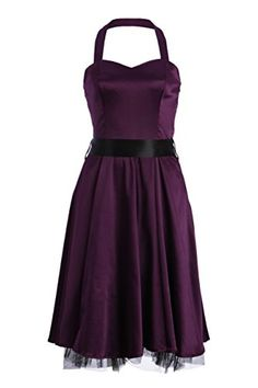Purple 50's Vintage Style Satin Cocktail Party Prom Halter Dress - Size Small
