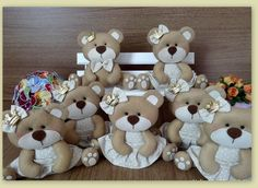 Ursinhas em Feltro com vestido - Unidade