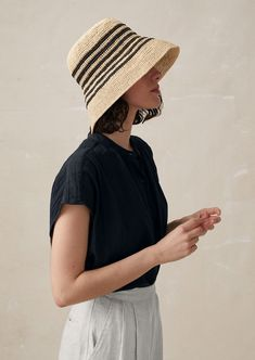 Our Stella Raffia Hat is made from pure raffia and has a narrow stripe. Hand made in Madagascar. Crochet Summer Hats, Crochet Hats, Beanie Outfit, Slouchy Beanie, Raffia Hat, Summer Hats For Women, Outfits With Hats, Turbans, Knitting Accessories