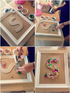 DIY Babyparty-Knopf-Monogramm-Handwerks-Collage 4 Projects to try DIY Baby Shower Button Monogram Cr Kids Crafts, Diy Home Crafts, Craft Projects, Wood Crafts, Art Crafts, Box Frame Ideas Diy Crafts, New Baby Crafts, Button Crafts For Kids, Teen Girl Crafts