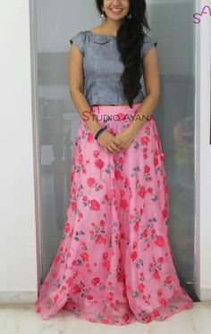 Sari Blouse Designs, Lehenga Designs, Anarkali Dress, Lehenga Gown, Indian Designer Outfits, Designer Dresses, Skirt Outfits, Dress Skirt, Long Skirt And Top